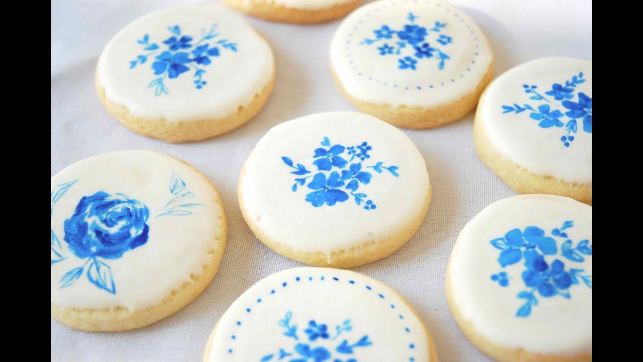 Painted \'Porcelain\' Sugar Cookies - YouTube