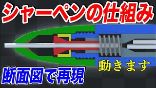 【物理エンジン】シャーペンの芯が出る仕組みを視覚的に分かりやすく解説した