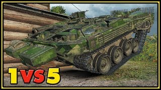 Strv 103B - 1 VS 5 - World of Tanks Gameplay