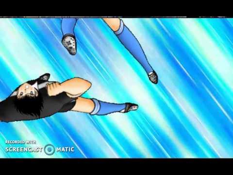 """Tsubasa and Hyuga's """"Jumping Raiju Shot"""""""