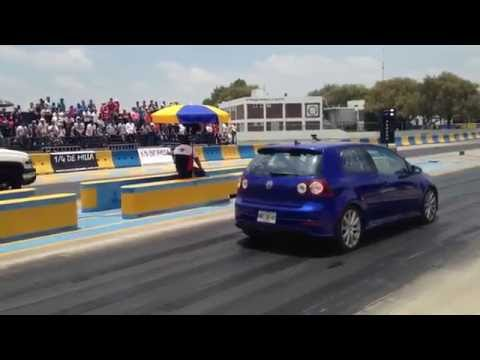 Silverado V8 turbo Vs vw golf R32 awd vr6 turbo arrancones 1/4 de milla Pegaso