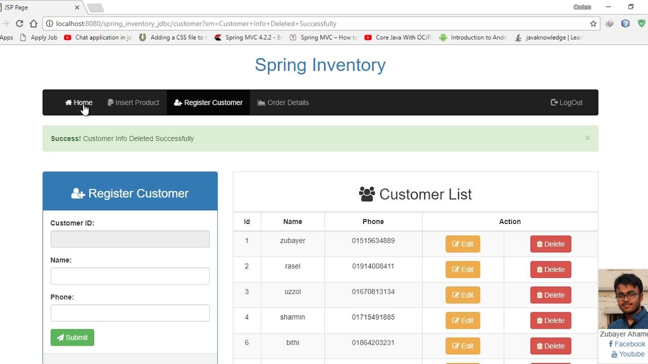 Inventory System Using Spring Framework