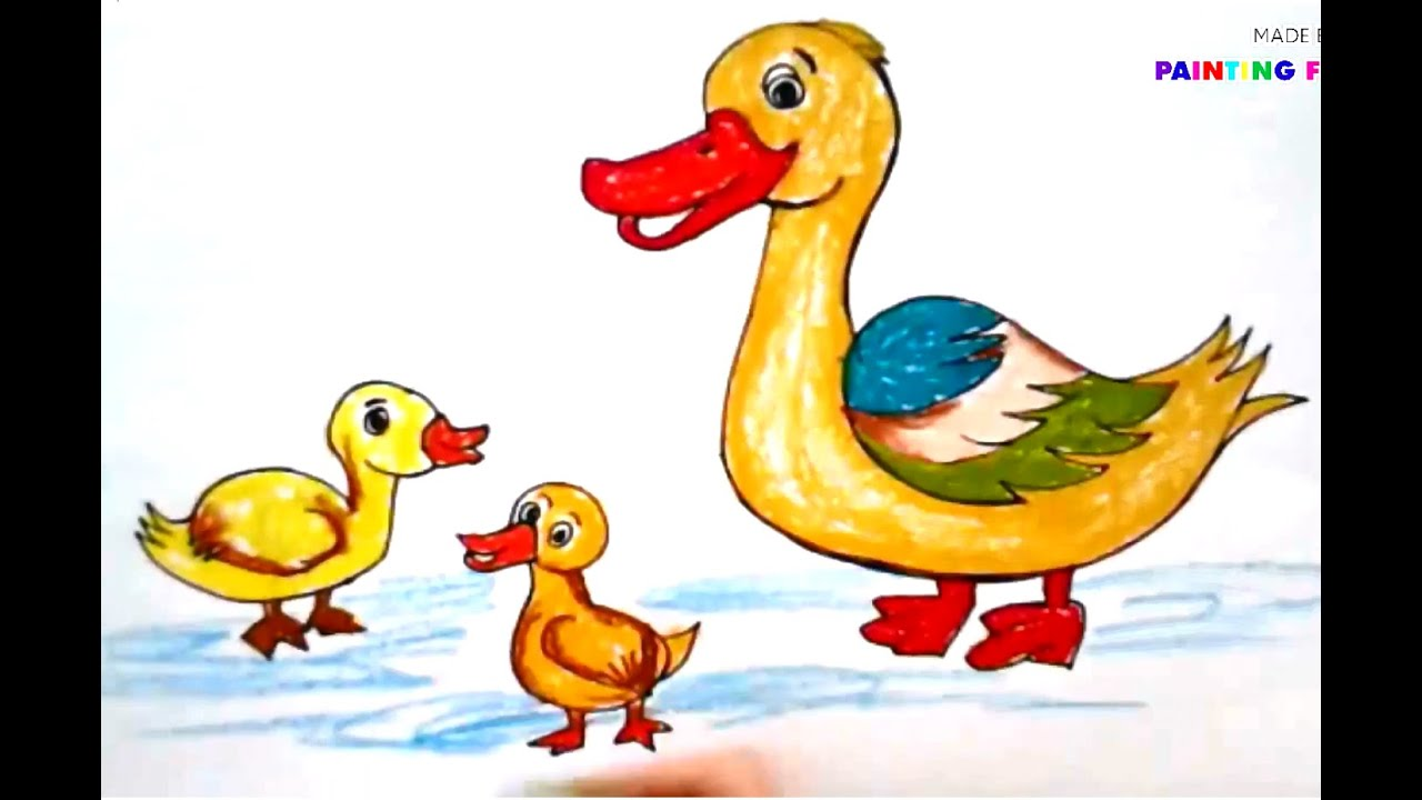 Painting animals for kids | How to draw a duck | How to paint a duck ...