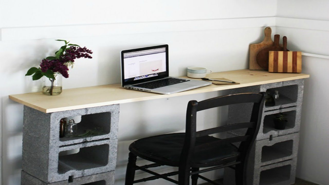 Design Cinder Block Table diy cinderblock desk youtube