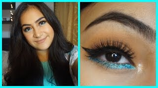Spring Makeup Look With a Pop of Teal | TREND | Khadijah Alsagoff
