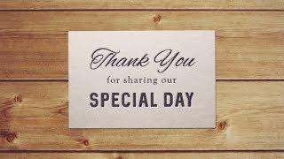 【らぼわん】結婚式の無料素材 レタープレスカード 「Thank you for sharing our special day」