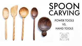 Experimenting with Spoon Carving // Hand Tools vs. Power Tools // Woodworking // Wood Carving