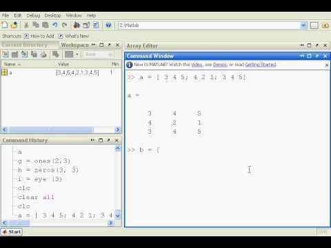 BAsic Matlab arrays - YouTube
