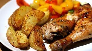 Курица с картошкой в духовке, Куриные окорочка в духовке с картошкой