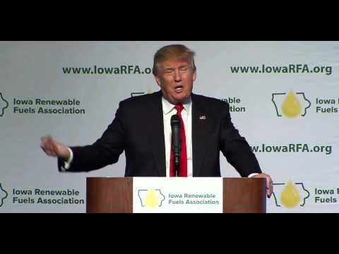 Donald Trump calls for higher ethanol mandate at Iowa Renewable Fuels Summit.