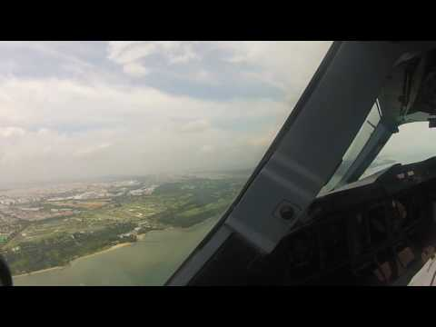 Emirates A380 Landing Singapore (Cockpit View)