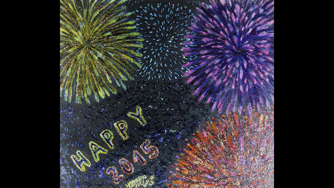 fireworks speed drawing coloring with polychromos on black paper