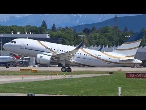 [FullHD] Comlux Malta Airbus A319CJ(SL) landing & takeoff at Geneva/GVA/LSGG