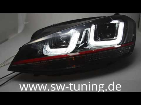 swdrltube scheinwerfer vw golf vii 12 15 led red line black sw tuning youtube. Black Bedroom Furniture Sets. Home Design Ideas