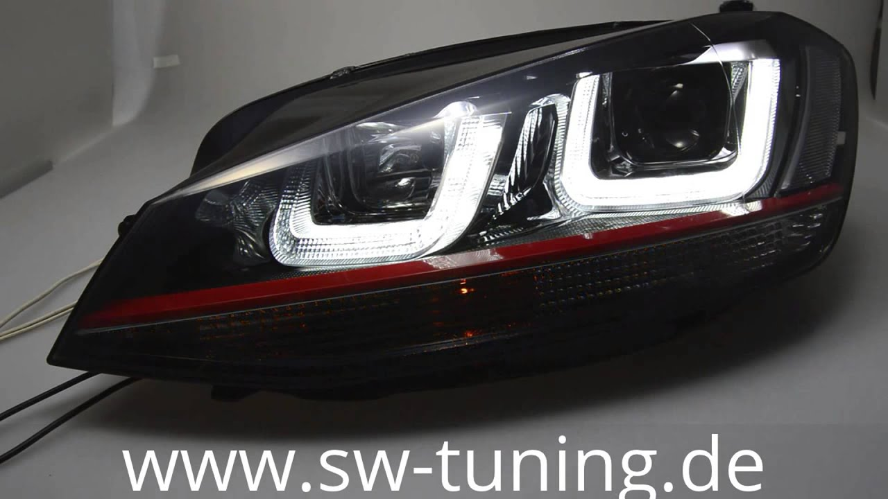 SWDRLtube Scheinwerfer VW Golf VII 12-15 LED RED-Line black SW ...