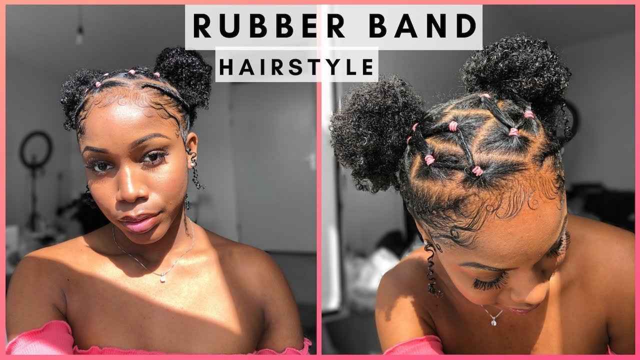 EASY RUBBER BAND STYLE WITH TWO BUNS ON NATURAL HAIR