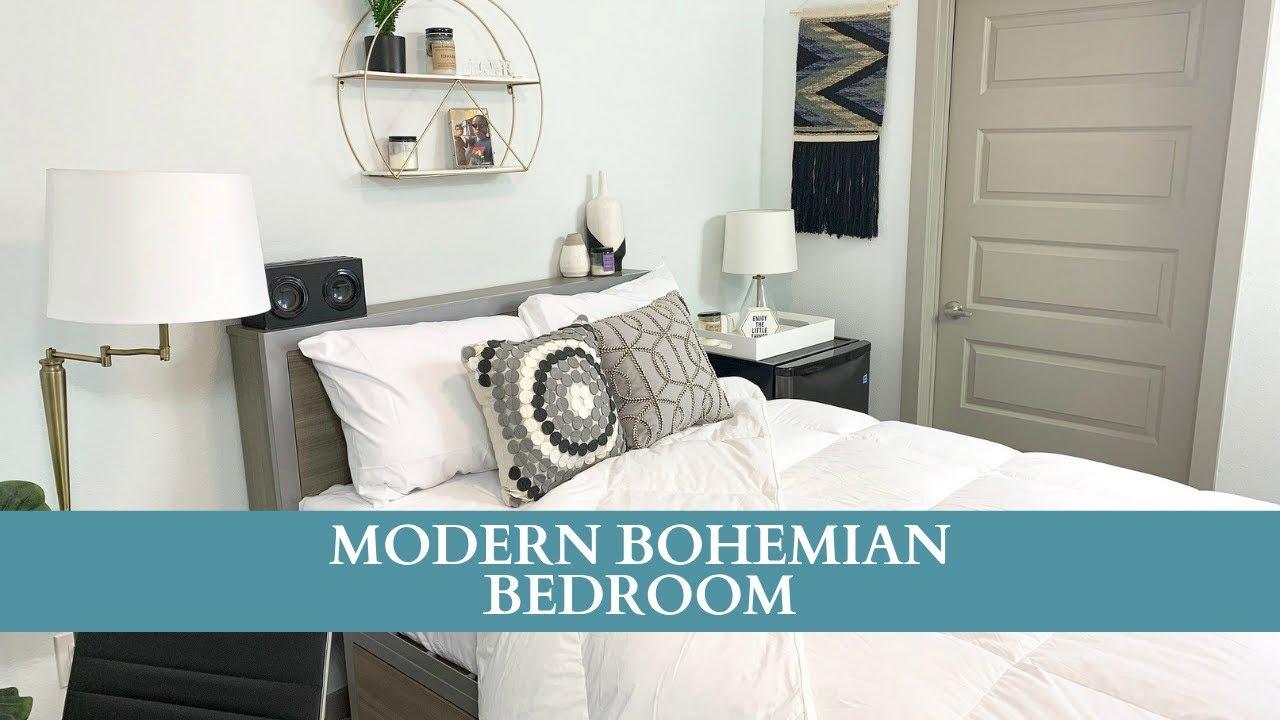 Modern Minimalistic Bohemian Bedroom - YouTube