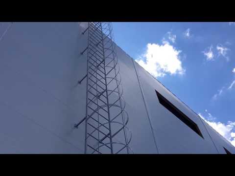 Пожарная лестница, монтаж наружной лестницы П-1(2) на сэндвич панель.
