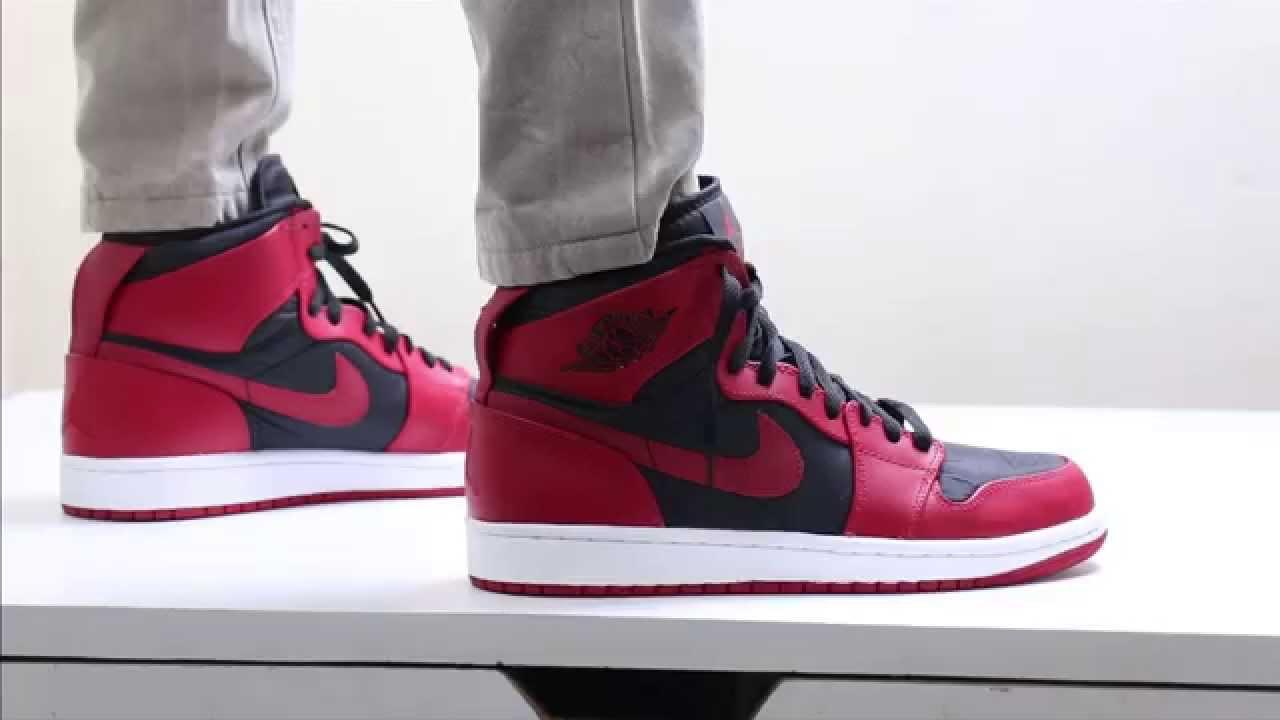 67ba91d1645 Nike Air Jordan 1 High Red On Feet - YouTube
