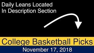 CBB Picks (11-17-18) | College Basketball NCAAB Expert Predictions | NCAAM | Men's NCAA