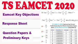 TS EAMCET 2020 Question Papers & Preliminary Keys