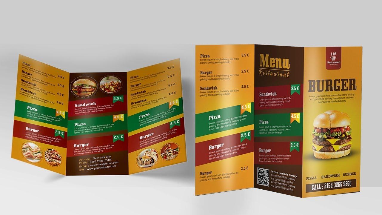 create a tri fold restaurant brochure photoshop tutorial youtube