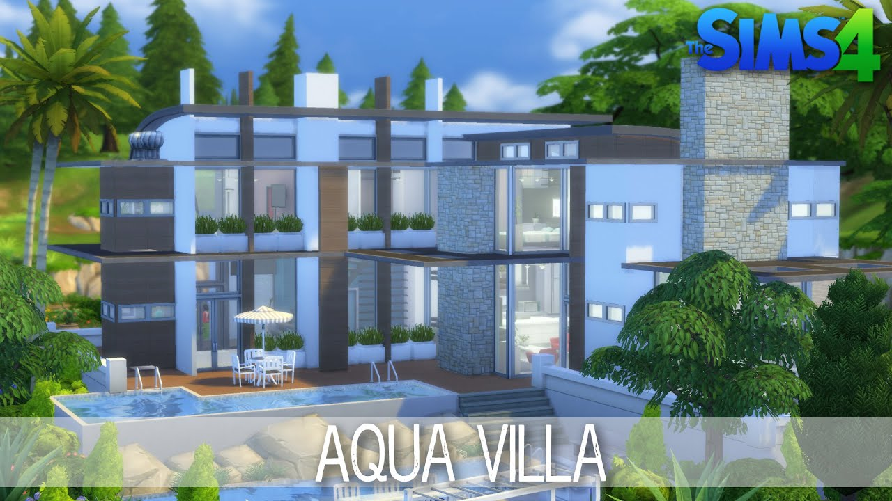 Pool Bauen Sims 4 The Sims 4 House Building Aqua Villa Speed Build Youtube