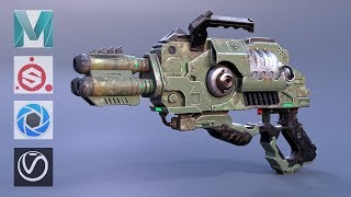 Autodesk Maya , Substance Painter - Sci-Fi Alien Gun Modeling and Texturing