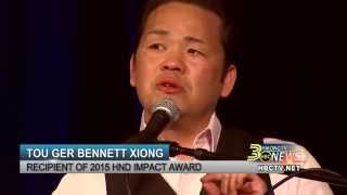 HMONG COMEDIAN, TOU GER BENNETT XIONG, GIVES AN EMOTIONAL SPEECH AT HND CONFERENCE 2015.