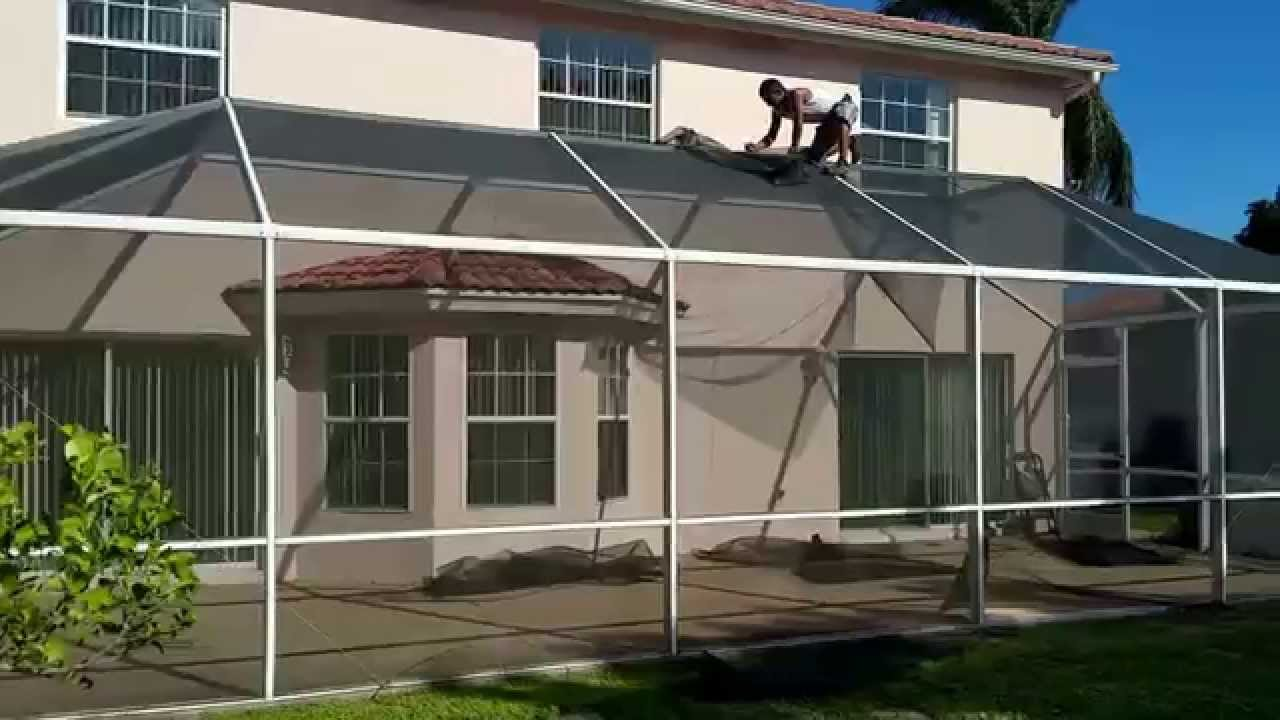 800 900 8586 Pool Patio Screen Enclosure ReScreen Repair   YouTube