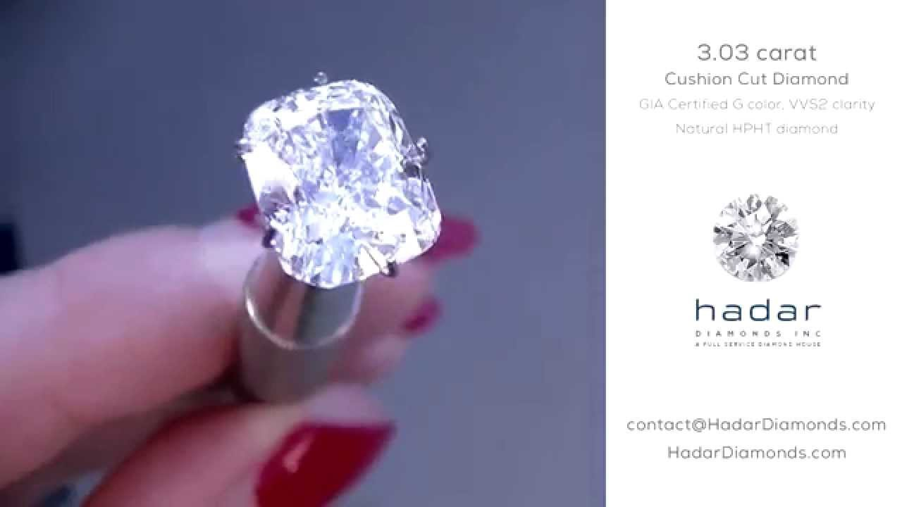 Hpht Diamond Sale: 3+ Carat Gia Cushion Cut, G, Vvs2, Natural Hpht Diamond