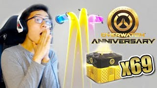 OPENING 69 ANNIVERSARY 2019 LOOT BOXES! ALL LEGENDARY SKINS UNLOCKED   Overwatch