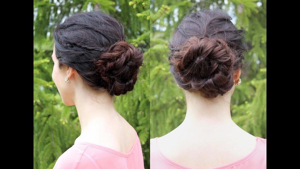 Tutoriel coiffure : chignon tressé pour l'été - YouTube