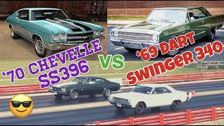 1970 Chevelle SS396 vs 1969 Dart Swinger 340 - PURE STOCK DRAG RACE + history/specs