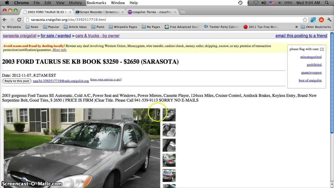 Craigslist Sarasota Florida Used Cars Trucks and Vans  For Sale