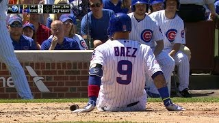 PIT@CHC: Baez fouls bąll off his foot, stays in game