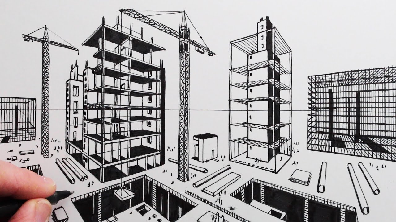 How To Draw 2 Point Perspective Draw A City Construction Site Youtube