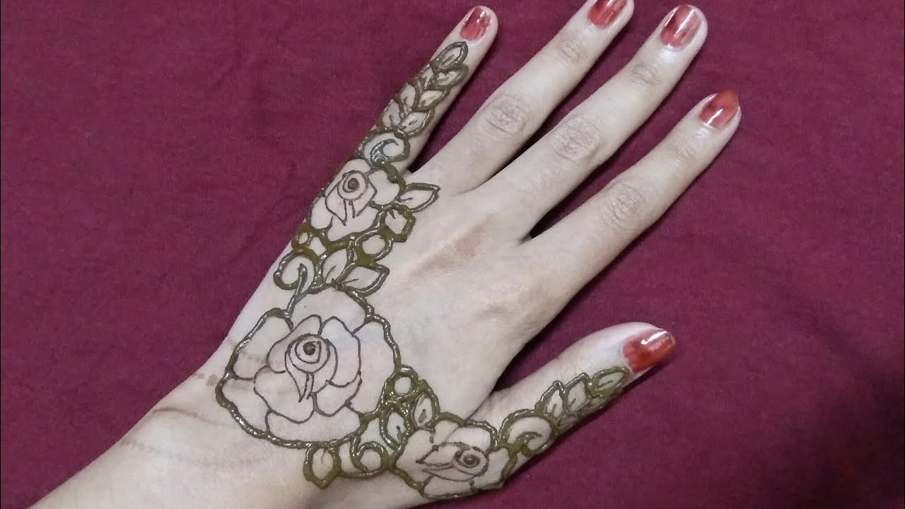 modern rose mehndi design simple