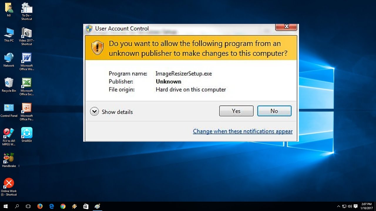 "How to Disable ""Do you want to allow the following program…"" in Windows PC  10/8 1/7"