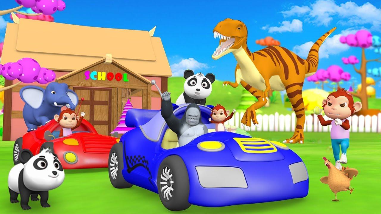 Dinosaur Rescue Baby Elephant & Panda from Kidnapper Gorilla in Forest Funny Animal 3D Cartoons