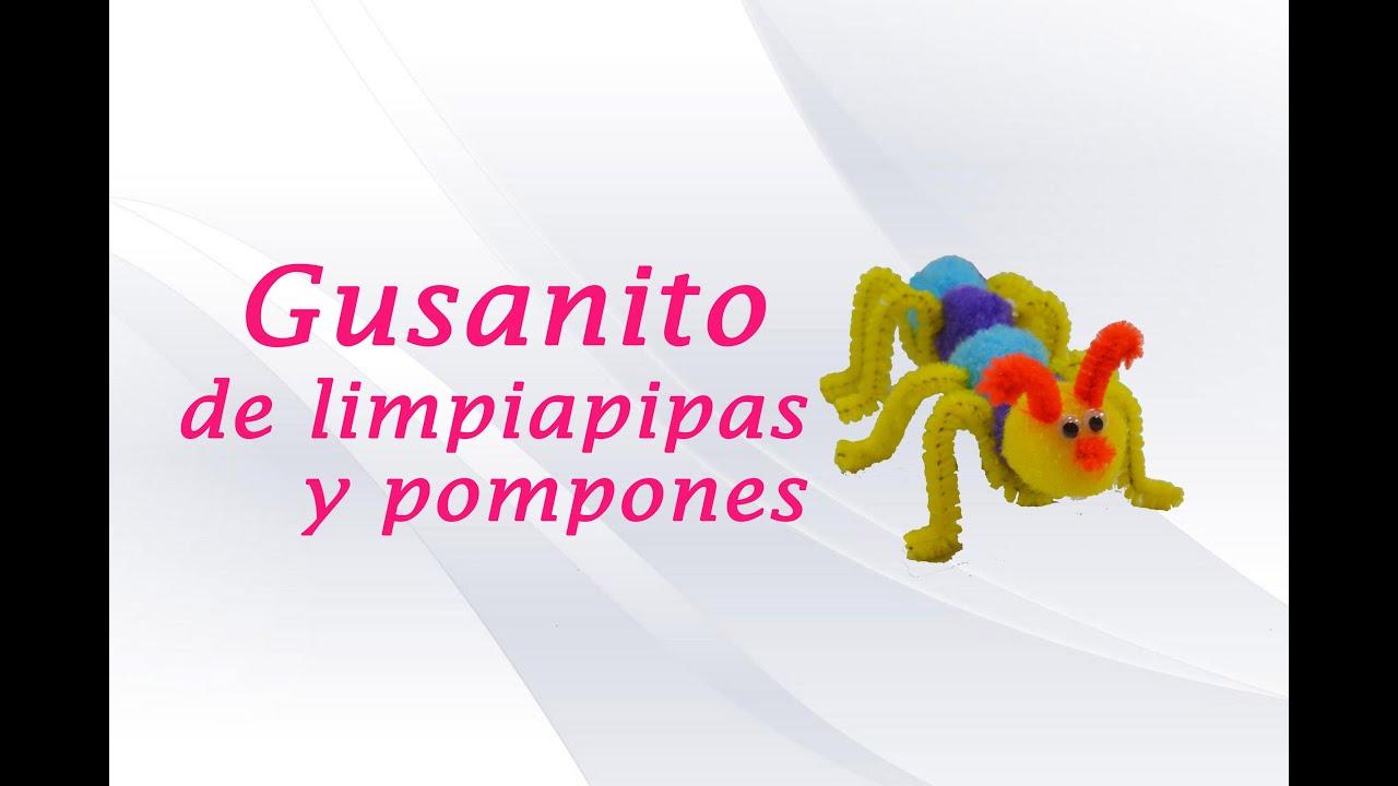 Gusanito de pompones y limpiapipas manualidades - Manualidades con pompones ...