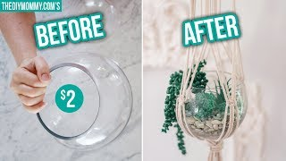 DIY MACRAME PLANT HANGER with Thrifted Vase | $5 Goodwill Challenge