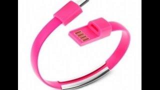 Wirstband para smartphone y tablet. Pulsera micro usb rosa. Cargador y Datos. ESPAÑOL