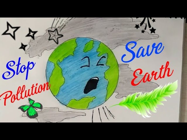 SAVE EARTH STOP POLLUTION Coloring Drawing For Kids || Save Environment Poster|Stop Global Warming| #1