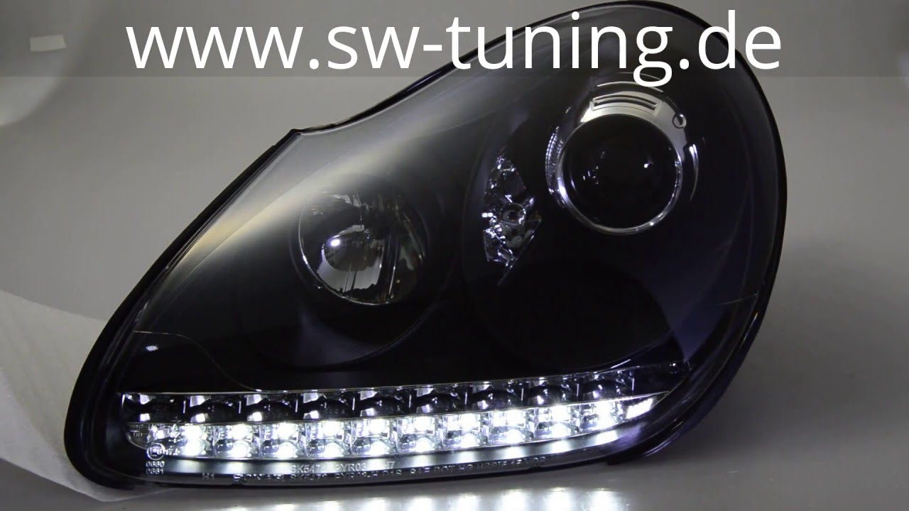 Swlight hid headlights for cayenne 955 9pa 02 07 black sw tuning youtube