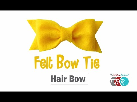 How to Make a Felt Bow Tie Hair Bow - TheRibbonRetreat.com