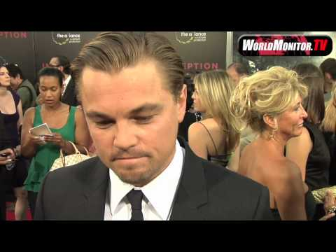Leonardo DiCaprio fixing his hair and interviewed at 'Inception' premiere