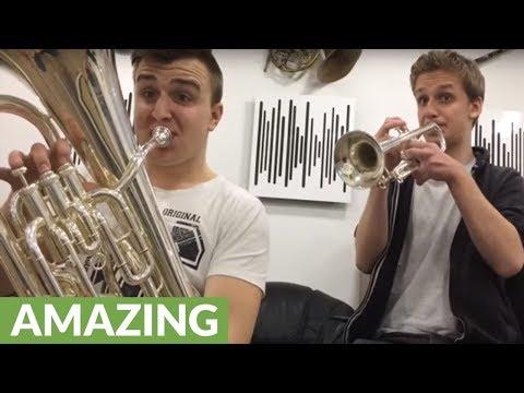 Super Mario theme masterfully played on trumpet & euphonium