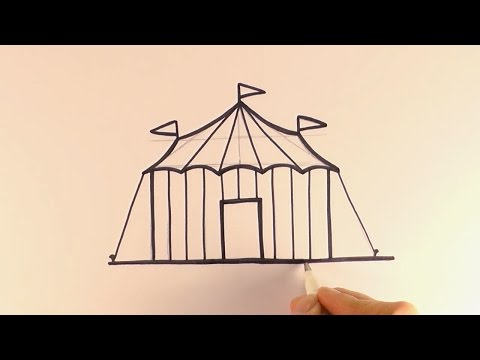 How To Draw A Cartoon Circus Tent