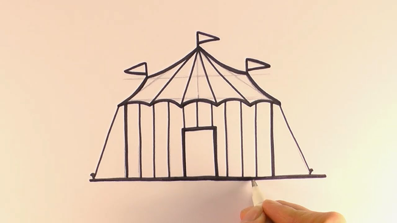 sc 1 st  YouTube & How to Draw a Cartoon Circus Tent - YouTube